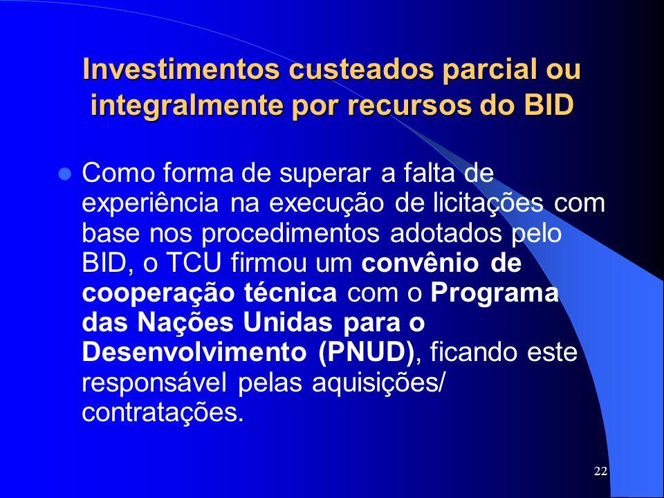 22 Investimentos custeados parcial ou integralmente por recursos do BID Como forma de superar a falta de experiência na execução de licitações com bas