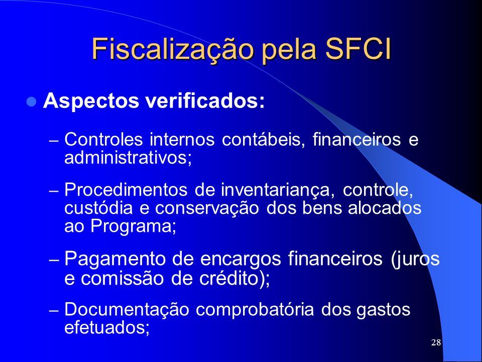 28 Fiscalização pela SFCI Aspectos verificados: – Controles internos contábeis, financeiros e administrativos; – Procedimentos de inventariança, contr