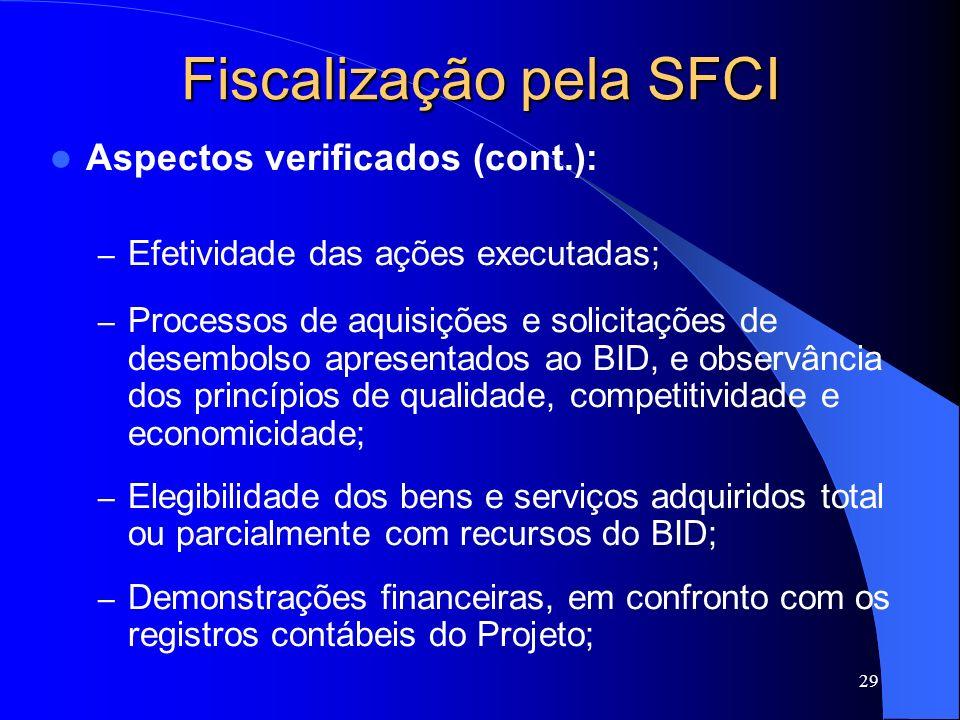 29 Fiscalização pela SFCI Aspectos verificados (cont.): – Efetividade das ações executadas; – Processos de aquisições e solicitações de desembolso apr