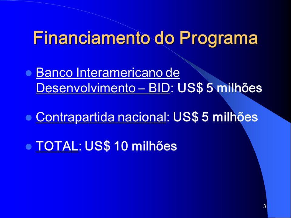 3 Financiamento do Programa Banco Interamericano de Desenvolvimento – BID: US$ 5 milhões Contrapartida nacional: US$ 5 milhões TOTAL: US$ 10 milhões