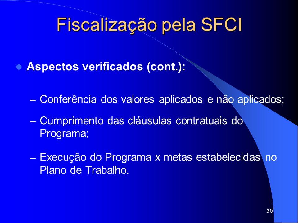 30 Fiscalização pela SFCI Aspectos verificados (cont.): – Conferência dos valores aplicados e não aplicados; – Cumprimento das cláusulas contratuais d