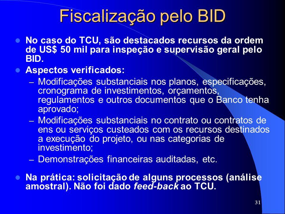 31 Fiscalização pelo BID No caso do TCU, são destacados recursos da ordem de US$ 50 mil para inspeção e supervisão geral pelo BID. Aspectos verificado