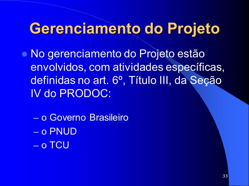 33 Gerenciamento do Projeto No gerenciamento do Projeto estão envolvidos, com atividades específicas, definidas no art. 6º, Título III, da Seção IV do