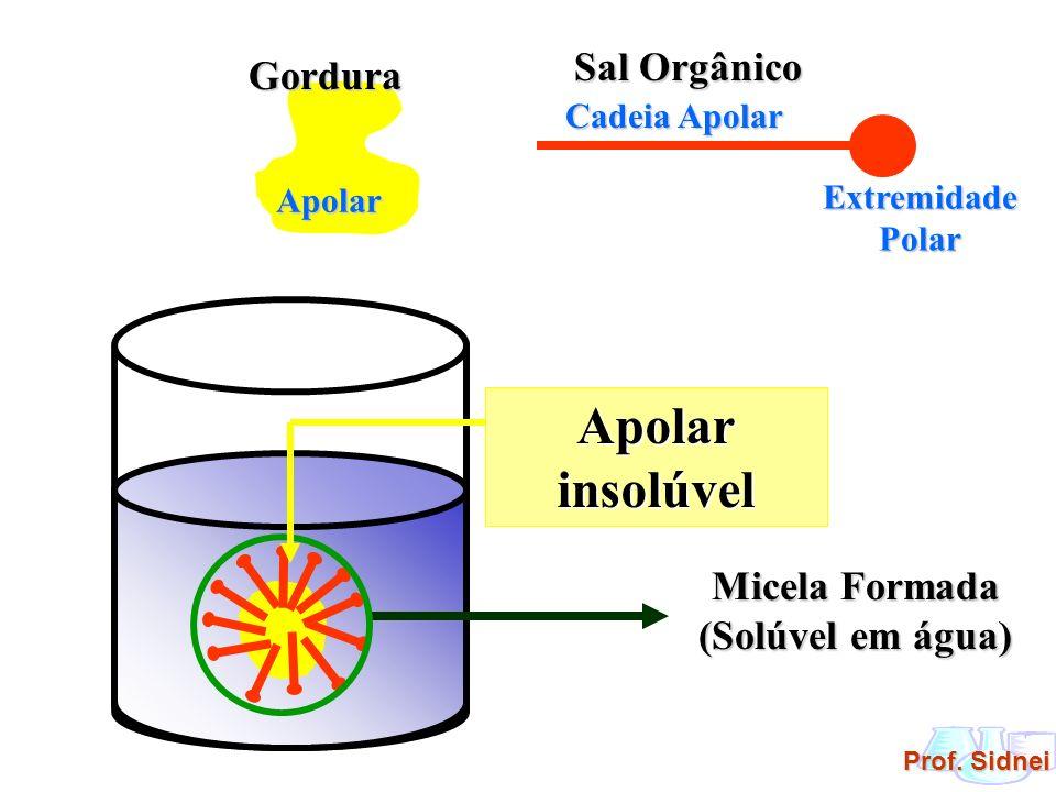 Prof. Sidnei Sal Orgânico Cadeia Apolar Extremidade Polar GorduraApolar Micela Formada (Solúvel em água) Apolar insolúvel
