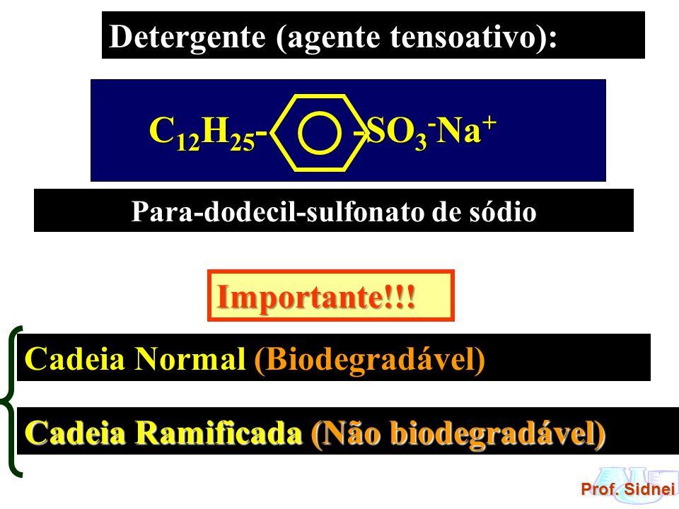 Prof. Sidnei Detergente (agente tensoativo): Para-dodecil-sulfonato de sódio Importante!!! Cadeia Normal (Biodegradável) Cadeia Ramificada (Não biodeg