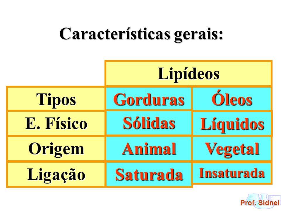 Prof. Sidnei Características gerais: Lipídeos Tipos E. Físico Origem GordurasÓleos Sólidas Líquidos AnimalVegetal Ligação Saturada Insaturada
