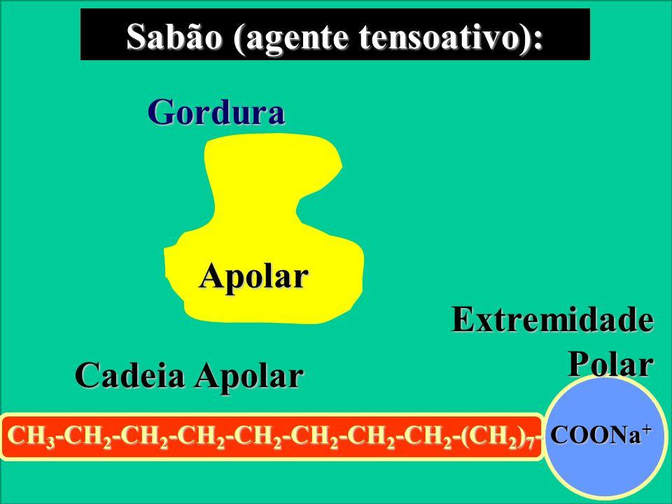Prof. Sidnei Sabão (agente tensoativo): CH 3 -CH 2 -CH 2 -CH 2 -CH 2 -CH 2 -CH 2 -CH 2 -(CH 2 ) 7 - COONa + Cadeia Apolar Extremidade Polar Gordura Ap