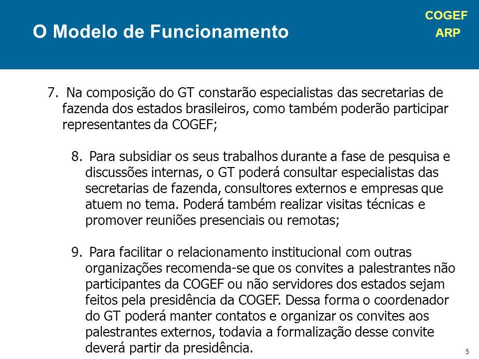 COGEF ARP 6 Formato Final do Relatório O relatório final poderá ter a forma de um documento Word ou uma apresentação em PowerPoint.