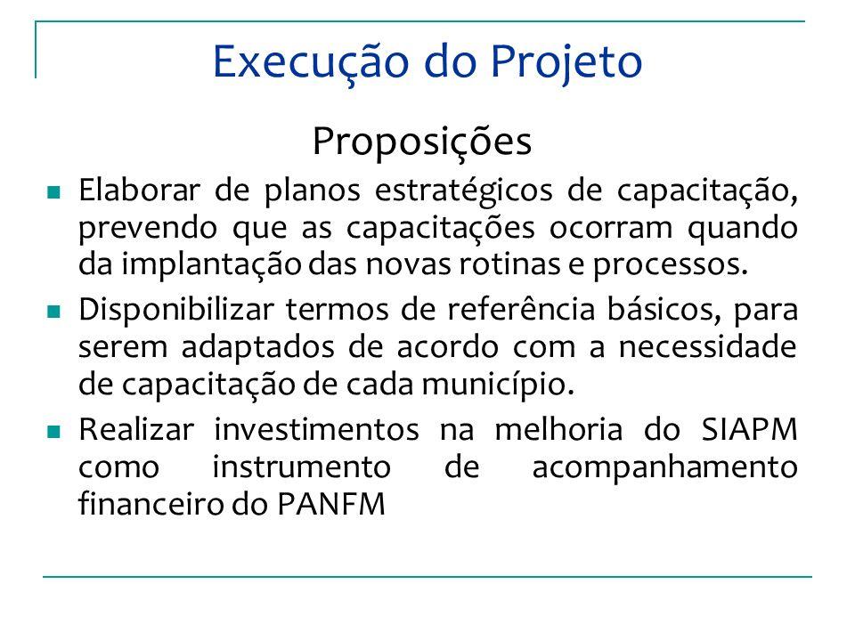 Execução do Projeto Proposições Elaborar de planos estratégicos de capacitação, prevendo que as capacitações ocorram quando da implantação das novas rotinas e processos.