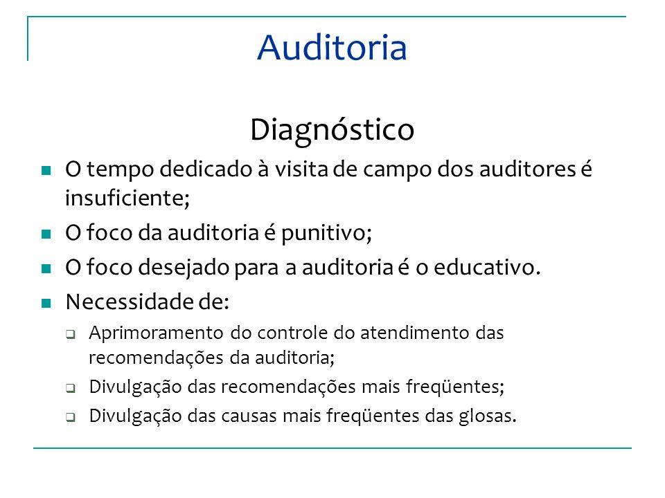 Auditoria Diagnóstico O tempo dedicado à visita de campo dos auditores é insuficiente; O foco da auditoria é punitivo; O foco desejado para a auditoria é o educativo.