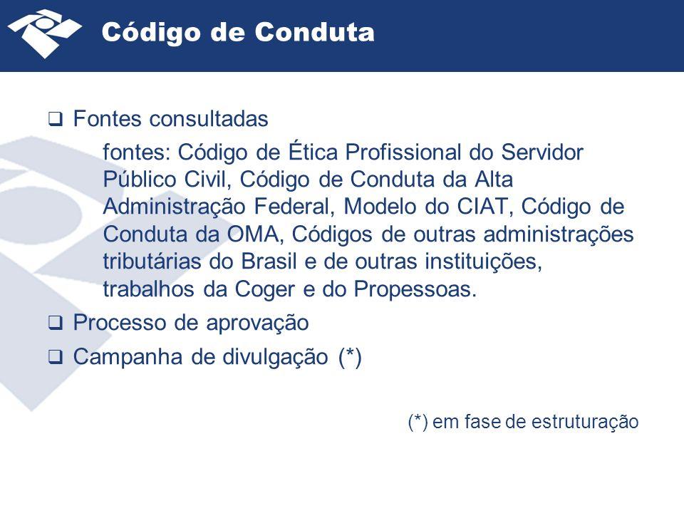 Código de Conduta Fontes consultadas fontes: Código de Ética Profissional do Servidor Público Civil, Código de Conduta da Alta Administração Federal, Modelo do CIAT, Código de Conduta da OMA, Códigos de outras administrações tributárias do Brasil e de outras instituições, trabalhos da Coger e do Propessoas.