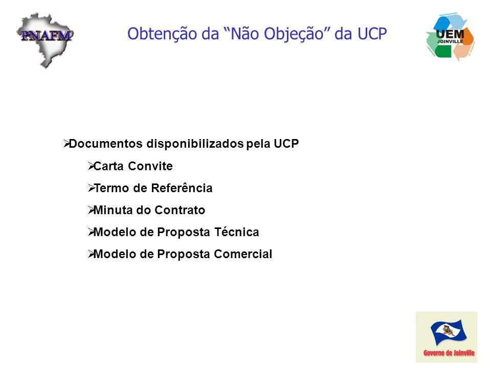 Obtenção da Não Objeção da UCP Documentos disponibilizados pela UCP Carta Convite Termo de Referência Minuta do Contrato Modelo de Proposta Técnica Mo