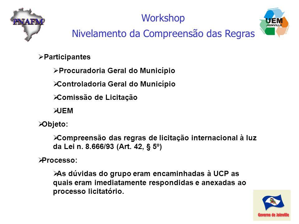Workshop Nivelamento da Compreensão das Regras Participantes Procuradoria Geral do Município Controladoria Geral do Município Comissão de Licitação UE