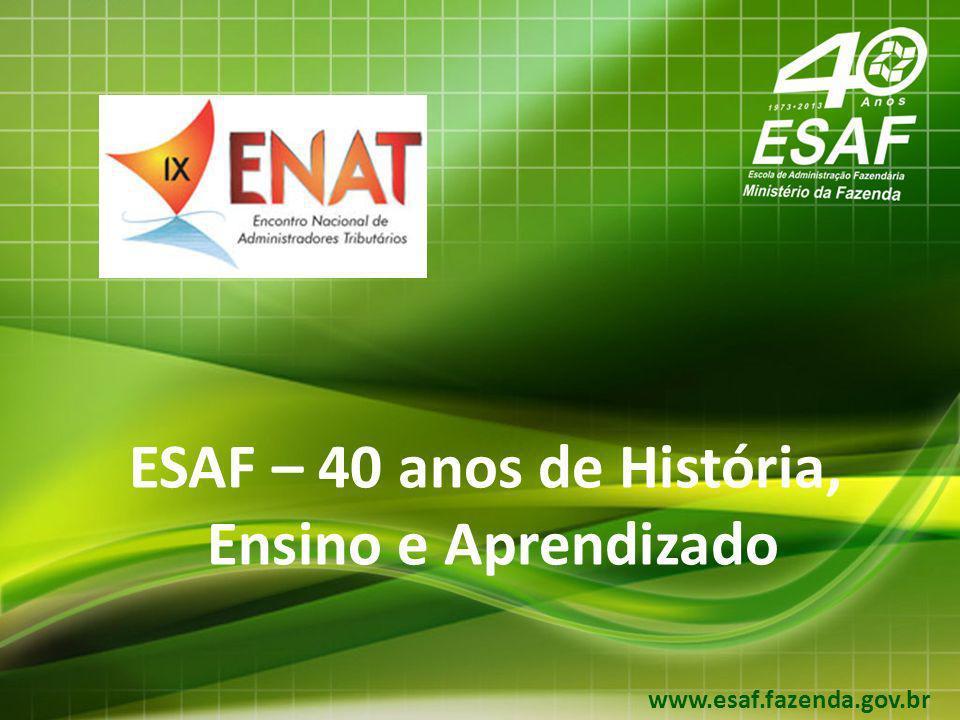 12 Áreas de Atuação da ESAF Ações de Capacitação Capacitação em Finanças Públicas e áreas afins Capacitação permanente dos servidores nas atividades finalísticas do MF, respaldando os processos de mudança e aperfeiçoamento organizacional.