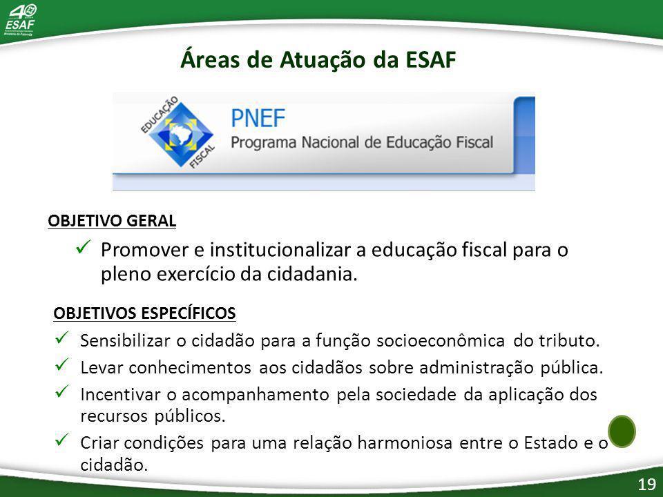19 OBJETIVO GERAL Promover e institucionalizar a educação fiscal para o pleno exercício da cidadania.
