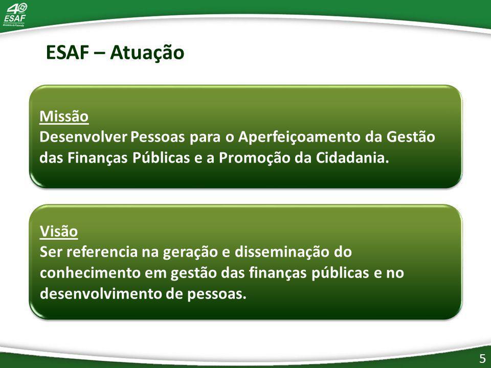 Missão Desenvolver Pessoas para o Aperfeiçoamento da Gestão das Finanças Públicas e a Promoção da Cidadania.