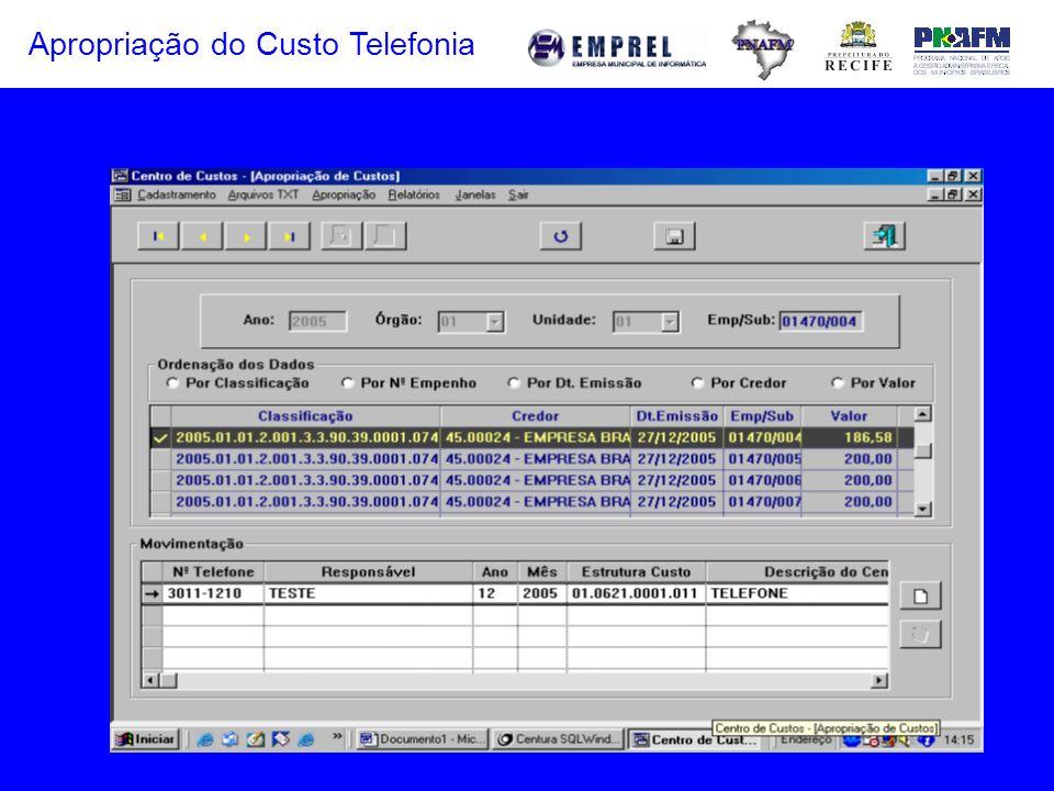 Apropriação do Custo Telefonia