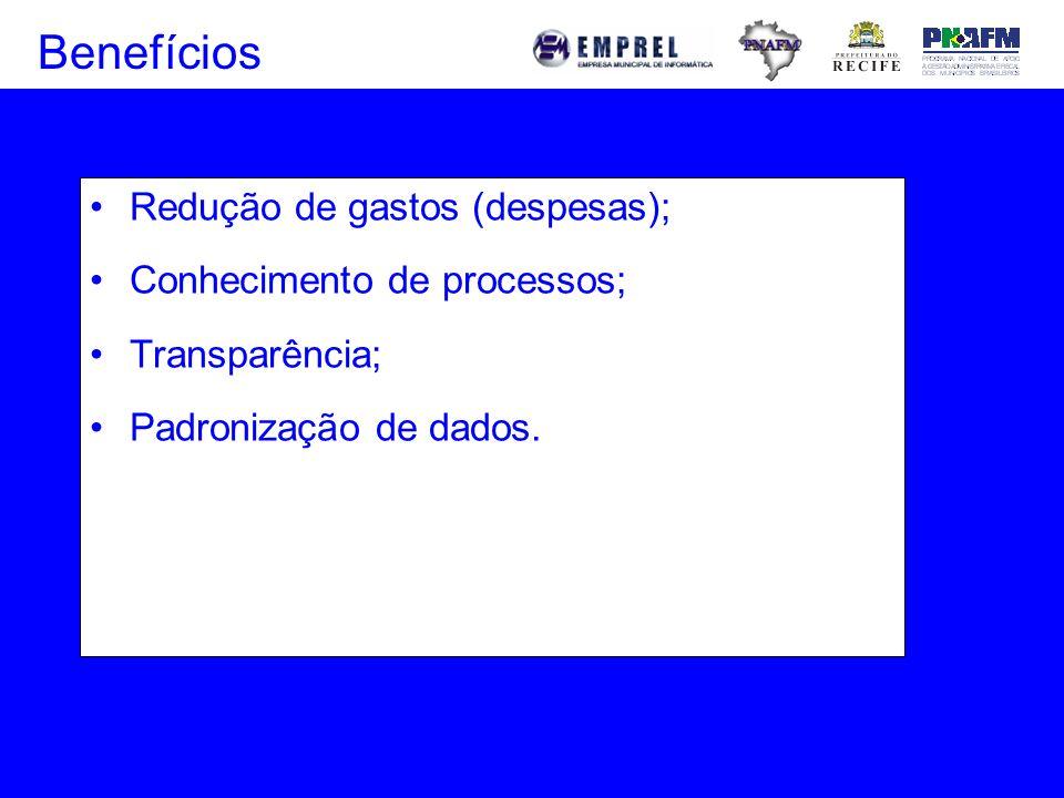 Redução de gastos (despesas); Conhecimento de processos; Transparência; Padronização de dados. Benefícios
