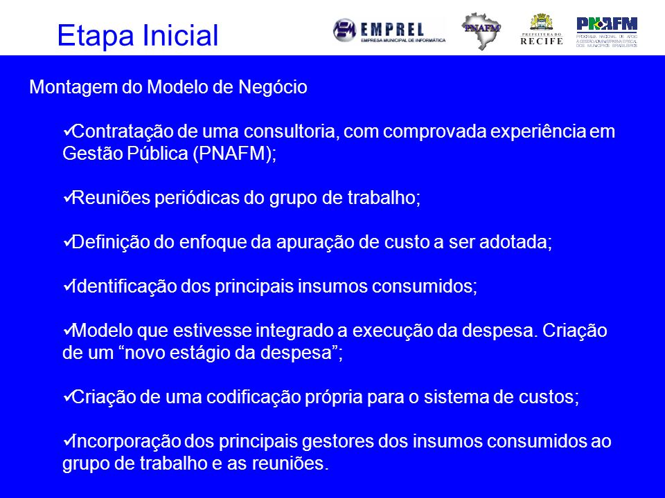Etapa Inicial Montagem do Modelo de Negócio Contratação de uma consultoria, com comprovada experiência em Gestão Pública (PNAFM); Reuniões periódicas