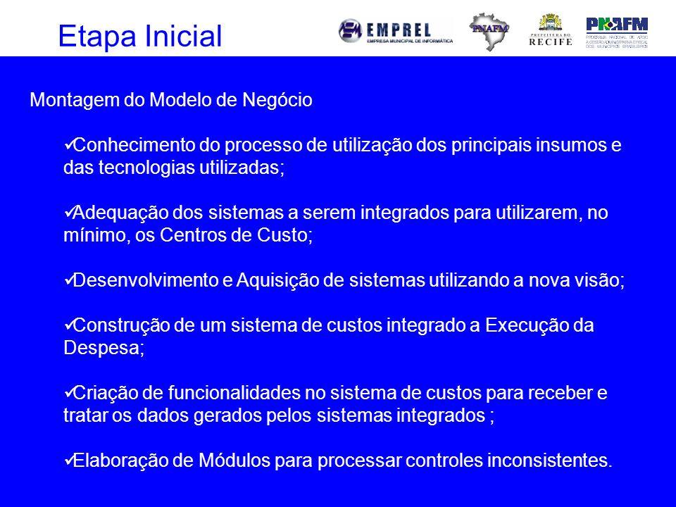 Etapa Inicial Montagem do Modelo de Negócio Conhecimento do processo de utilização dos principais insumos e das tecnologias utilizadas; Adequação dos