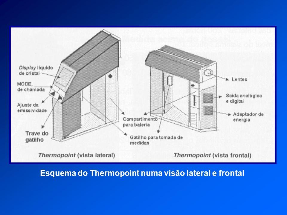 Esquema do Thermopoint numa visão lateral e frontal