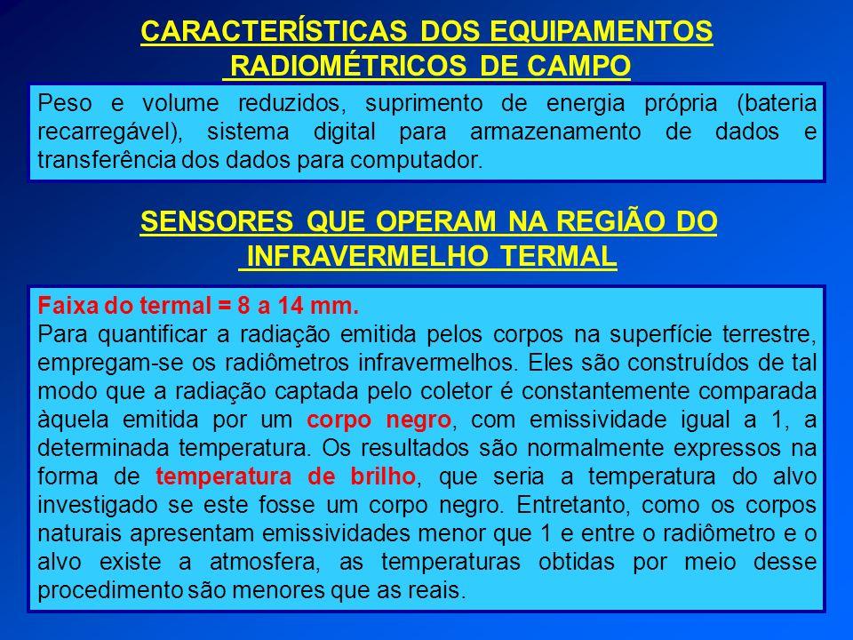 CARACTERÍSTICAS DOS EQUIPAMENTOS RADIOMÉTRICOS DE CAMPO Peso e volume reduzidos, suprimento de energia própria (bateria recarregável), sistema digital