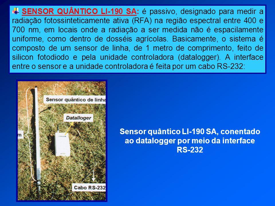 SENSOR QUÂNTICO LI-190 SA: é passivo, designado para medir a radiação fotossinteticamente ativa (RFA) na região espectral entre 400 e 700 nm, em locai