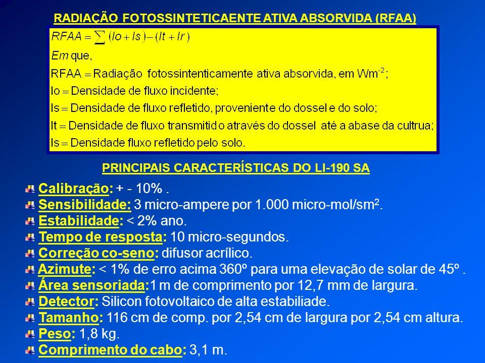 PRINCIPAIS CARACTERÍSTICAS DO LI-190 SA Calibração: + - 10%. Sensibilidade: 3 micro-ampere por 1.000 micro-mol/sm 2. Estabilidade: < 2% ano. Tempo de