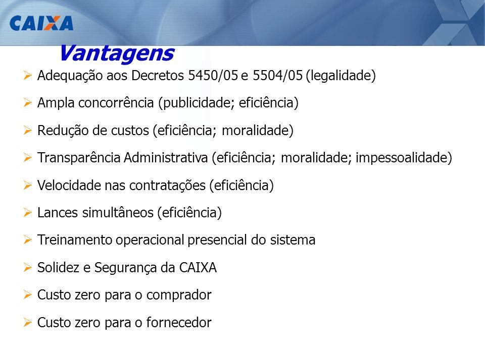Vantagens Adequação aos Decretos 5450/05 e 5504/05 (legalidade) Ampla concorrência (publicidade; eficiência) Redução de custos (eficiência; moralidade