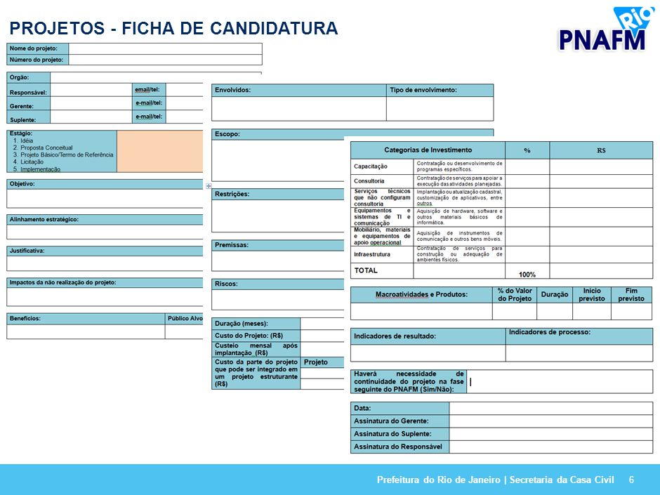 6 PROJETOS - FICHA DE CANDIDATURA