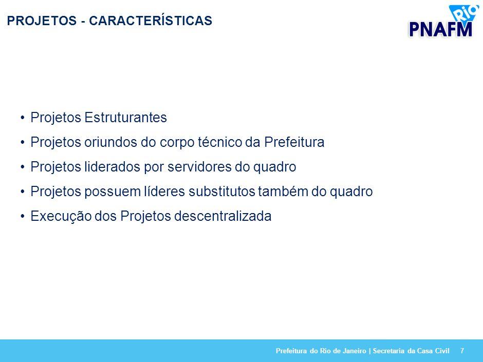 Prefeitura do Rio de Janeiro | Secretaria da Casa Civil7 PROJETOS - CARACTERÍSTICAS Projetos Estruturantes Projetos oriundos do corpo técnico da Prefeitura Projetos liderados por servidores do quadro Projetos possuem líderes substitutos também do quadro Execução dos Projetos descentralizada