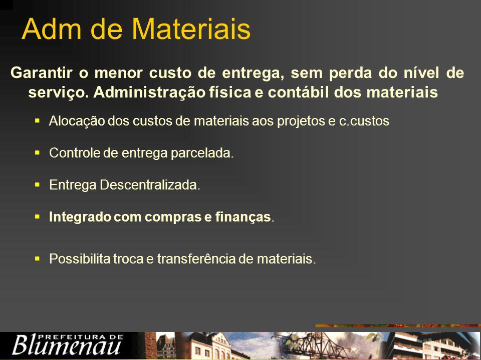 Adm de Materiais Garantir o menor custo de entrega, sem perda do nível de serviço. Administração física e contábil dos materiais Alocação dos custos d