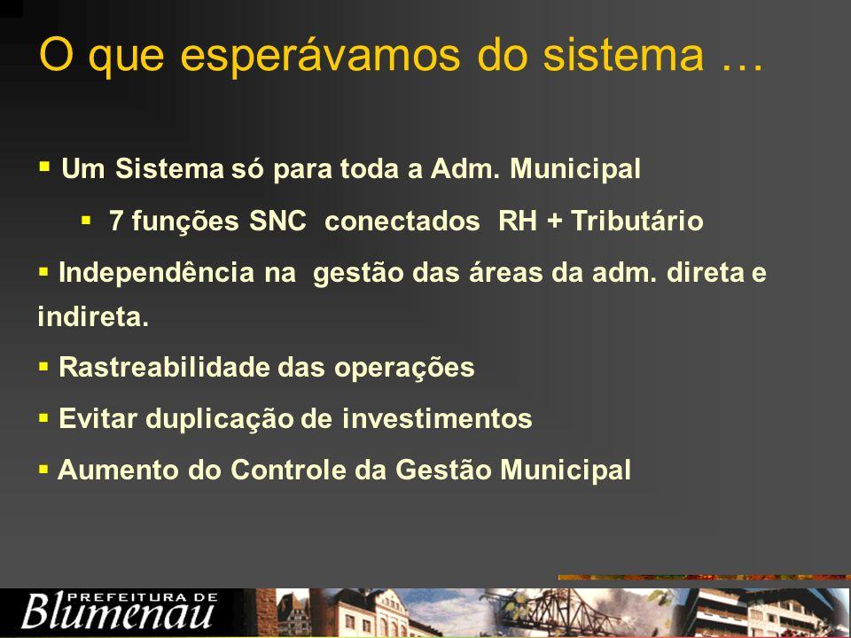 O que esperávamos do sistema … Um Sistema só para toda a Adm. Municipal 7 funções SNC conectados RH + Tributário Independência na gestão das áreas da