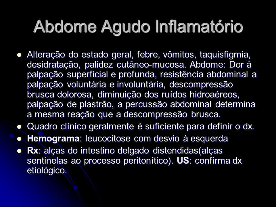 Abdome Agudo Inflamatório Alteração do estado geral, febre, vômitos, taquisfigmia, desidratação, palidez cutâneo-mucosa. Abdome: Dor à palpação superf