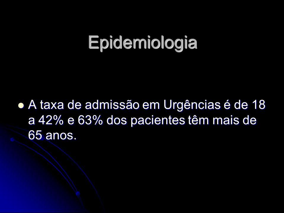 Epidemiologia A taxa de admissão em Urgências é de 18 a 42% e 63% dos pacientes têm mais de 65 anos. A taxa de admissão em Urgências é de 18 a 42% e 6