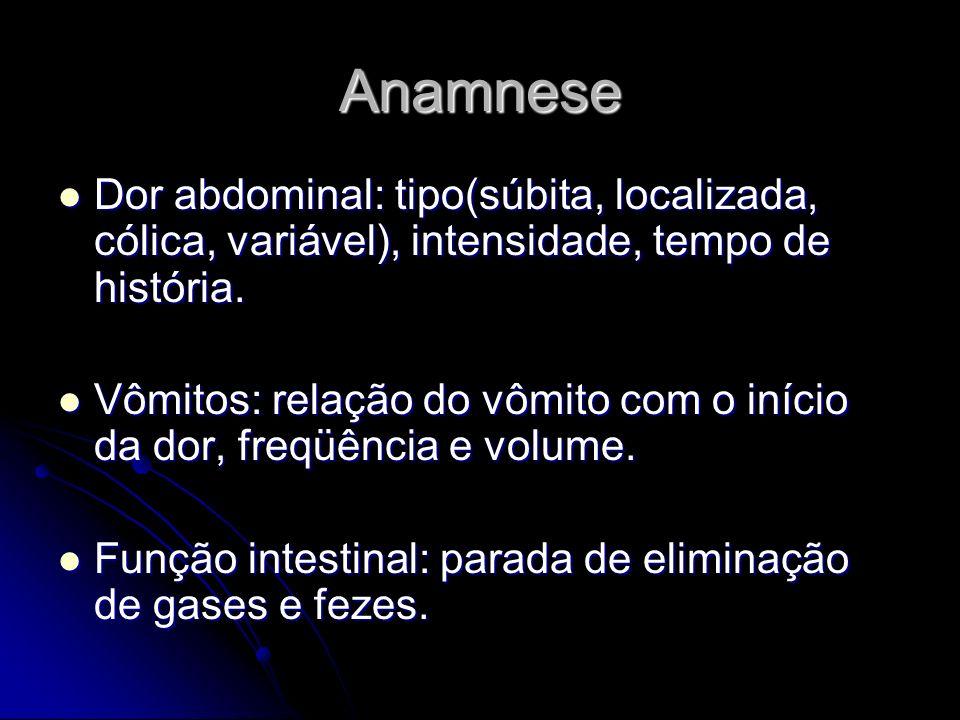 Anamnese Dor abdominal: tipo(súbita, localizada, cólica, variável), intensidade, tempo de história. Dor abdominal: tipo(súbita, localizada, cólica, va