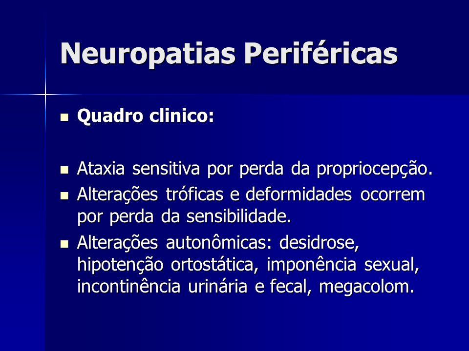 Neuropatias Periféricas Quadro clinico: Quadro clinico: Ataxia sensitiva por perda da propriocepção. Ataxia sensitiva por perda da propriocepção. Alte