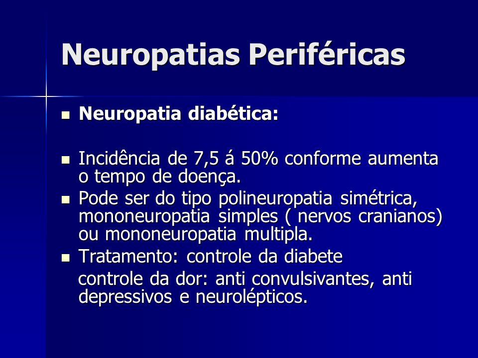 Neuropatias Periféricas Neuropatia diabética: Neuropatia diabética: Incidência de 7,5 á 50% conforme aumenta o tempo de doença. Incidência de 7,5 á 50
