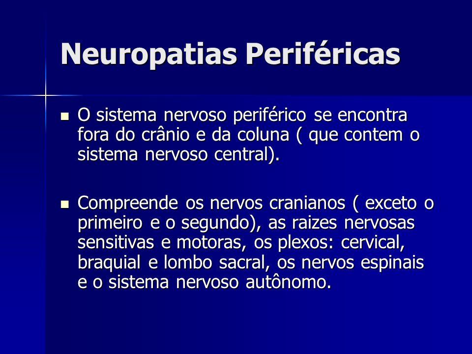 Neuropatias Periféricas Diagnósticos: Diagnósticos: Eletroneuromiografia: Eletroneuromiografia: Confirma o diagnostico de neuropatia Classifica o padrão da mesma Biópsia do nervo sural: Biópsia do nervo sural: Detecta: vasculites, neuropatia amilóide, hanseníase ou neuropatia hereditária.