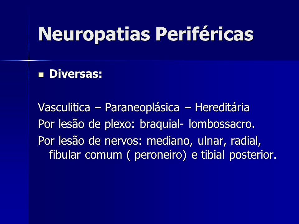 Neuropatias Periféricas Diversas: Diversas: Vasculitica – Paraneoplásica – Hereditária Por lesão de plexo: braquial- lombossacro. Por lesão de nervos:
