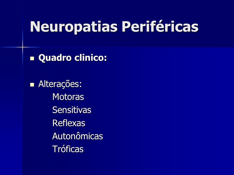 Neuropatias Periféricas Quadro clinico: Quadro clinico: Alterações: Alterações: Motoras Motoras Sensitivas Sensitivas Reflexas Reflexas Autonômicas Au