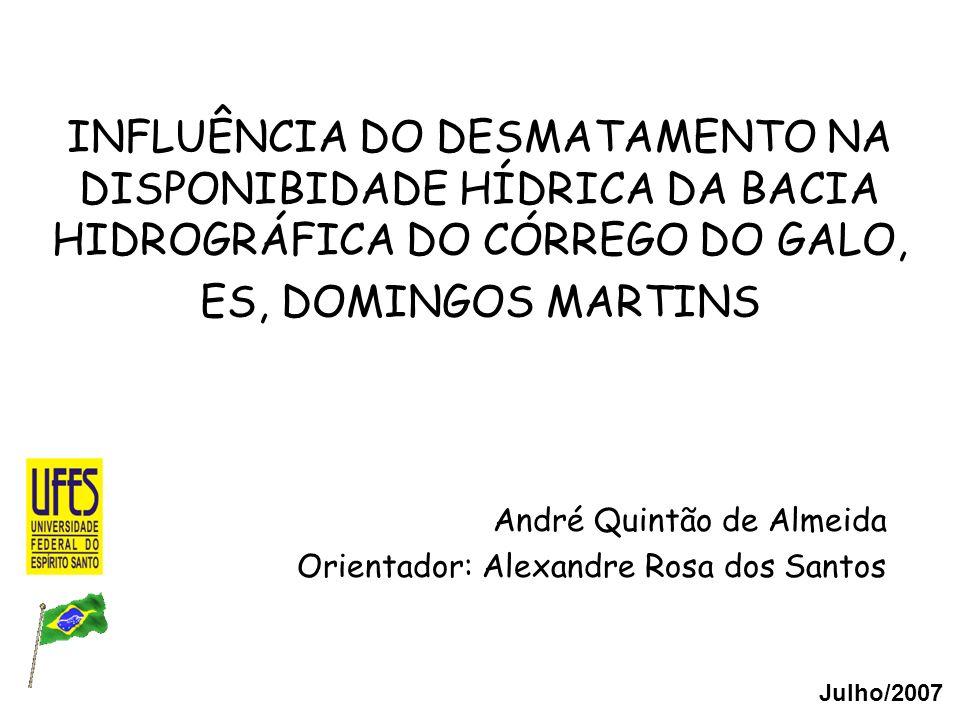 André Quintão de Almeida Orientador: Alexandre Rosa dos Santos INFLUÊNCIA DO DESMATAMENTO NA DISPONIBIDADE HÍDRICA DA BACIA HIDROGRÁFICA DO CÓRREGO DO