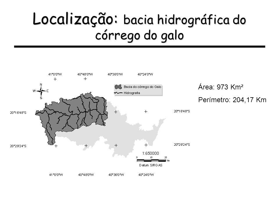 Localização: bacia hidrográfica do córrego do galo Área: 973 Km² Perímetro: 204,17 Km