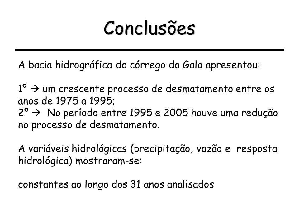 Conclusões A bacia hidrográfica do córrego do Galo apresentou: 1º um crescente processo de desmatamento entre os anos de 1975 a 1995; 2º No período en