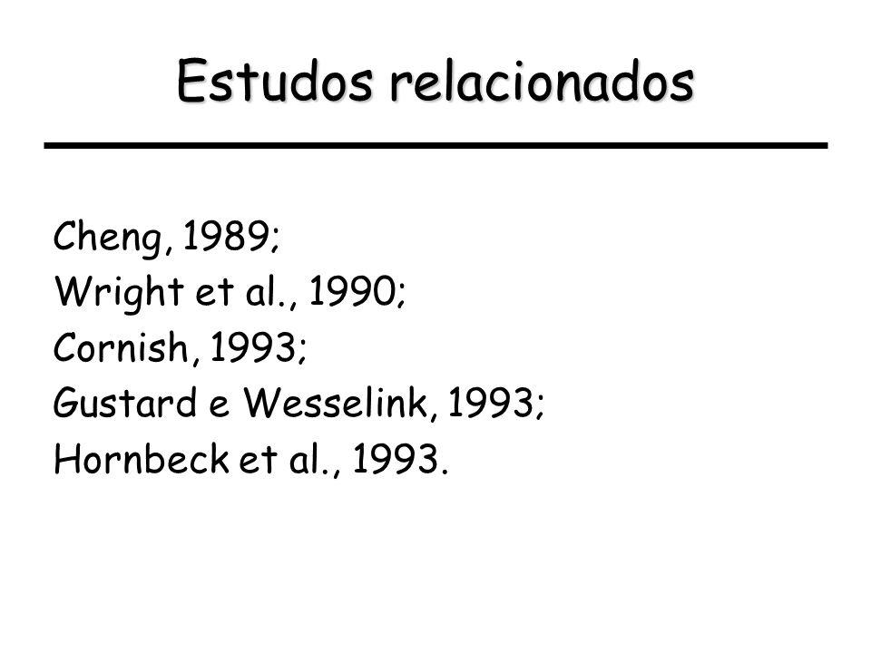 Estudos relacionados Cheng, 1989; Wright et al., 1990; Cornish, 1993; Gustard e Wesselink, 1993; Hornbeck et al., 1993.