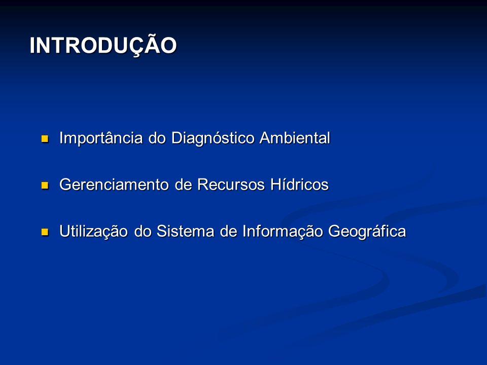 INTRODUÇÃO Importância do Diagnóstico Ambiental Importância do Diagnóstico Ambiental Gerenciamento de Recursos Hídricos Gerenciamento de Recursos Hídricos Utilização do Sistema de Informação Geográfica Utilização do Sistema de Informação Geográfica