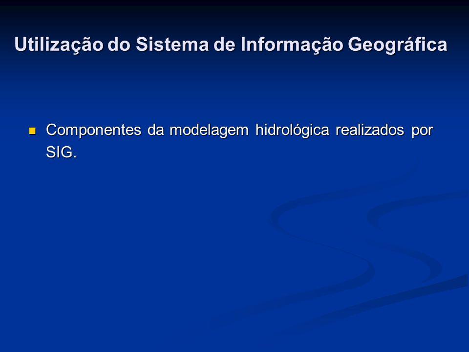 Utilização do Sistema de Informação Geográfica Componentes da modelagem hidrológica realizados por SIG.