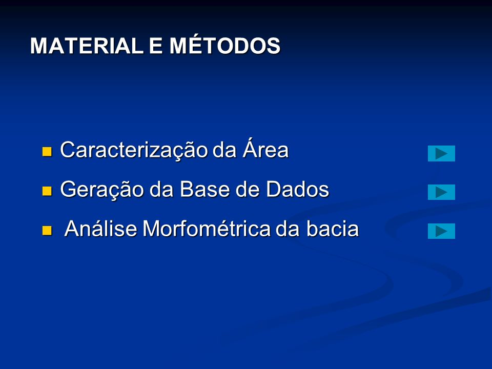 MATERIAL E MÉTODOS Caracterização da Área Caracterização da Área Geração da Base de Dados Geração da Base de Dados Análise Morfométrica da bacia Análise Morfométrica da bacia