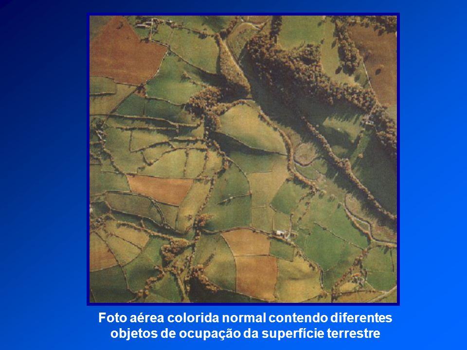Foto aérea colorida normal contendo diferentes objetos de ocupação da superfície terrestre