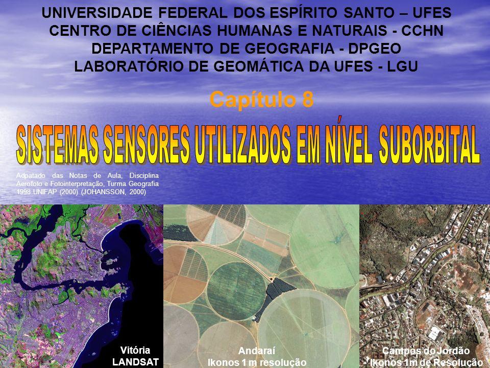 Capítulo 8 UNIVERSIDADE FEDERAL DOS ESPÍRITO SANTO – UFES CENTRO DE CIÊNCIAS HUMANAS E NATURAIS - CCHN DEPARTAMENTO DE GEOGRAFIA - DPGEO LABORATÓRIO DE GEOMÁTICA DA UFES - LGU Vitória LANDSAT Andaraí Ikonos 1 m resolução Campos do Jordão Ikonos 1m de Resolução Adpatado das Notas de Aula, Disciplina Aerofoto e Fotointerpretação, Turma Geografia 1998 UNIFAP (2000) (JOHANSSON, 2000)